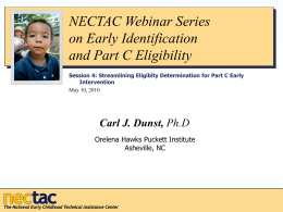 Streamlining Eligibility Determination for Part C Early Intervention