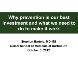 Why prevention is our best investment and what we need