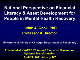 National Perspective on Financial Literacy & Asset Development