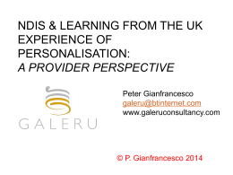 A provider perspective, Peter Gianfranesco