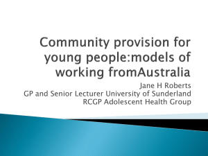 Community provision for young people:models of working