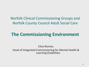 The Mental Health Commissioning Environment
