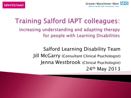 Greater Manchester West - Conducting training in IAPT