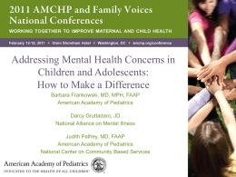Addressing Mental Health Concerns in Children and Adolescents