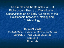 The Simple and the Complex in E. C. Richardson`s Theory of