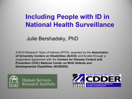Including People with ID in National Health Surveillance