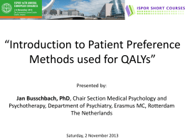 Intro QALY & need assessment