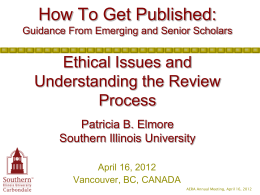 Ethical Issues and Understanding the Review Process