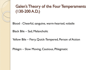 Galen`s Theory of the Four Temperaments (130