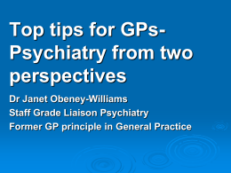 Top Tips for GPs - Royal College of Psychiatrists
