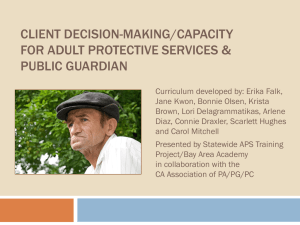 Client Decision-Making/Capacity for Adult Protective Services