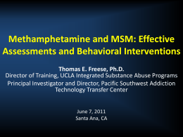 Methamphetamine and MSM - UCLA Integrated Substance Abuse