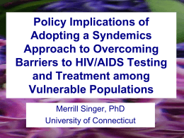 Policy Implications of Adopting a Syndemics Approach