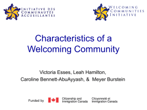 Characteristics of a Welcoming Community