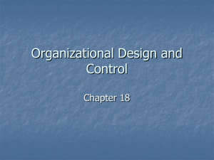 Chapter 18: Organizational Design and Control