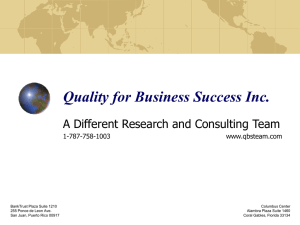 Online Presentation - Quality for Business Success Inc.