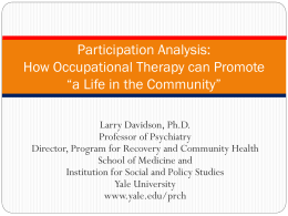 "Participation Analysis: How Occupational Therapy can Promote ""a"