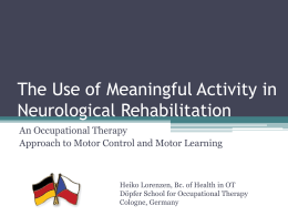 The use of meaningful activity in neurological