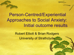 Person-Centred/Experiential Approaches to Social