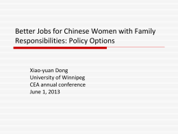 Better Jobs for Chinese Women with Family Responsibilities