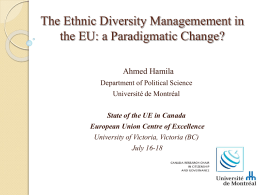 The Ethnic Diversity Managemement in the EU: a Paradigmatic
