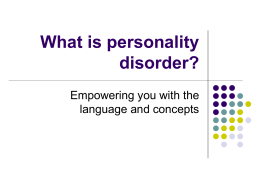 Assessment and Treatment of Personality Disorders (PD)