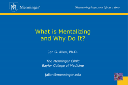 Mentalizing in the Treatment of Borderline Personality