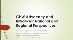 CHW Advocacy & Program Implementation: National and Regional