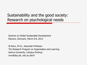 Sustainability and the good society Research on psychological needs