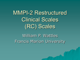 Restructured Clinical Scales (RC) Scales