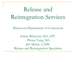 Release and Reintegration Services Training CTG April 2011