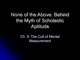 None of the Above: Behind the Myth of Scholastic
