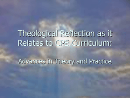Theological Reflection as it Relates to CPE