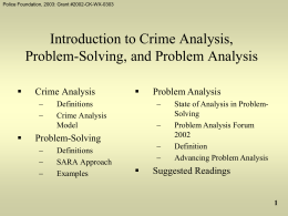 Introduction to Crime Analysis, Problem-Solving