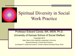 SW 870 Spiritual Aspects of Social Work Practice