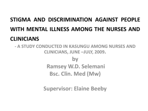 stigma and discrimination against people with mental illness among