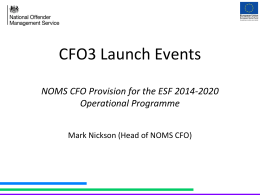 CFO3 Launch Events 2014 - NOMS Co