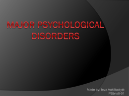 Major Psychological Disorders