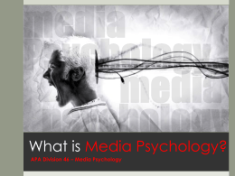 Media Psychology - American Psychological Association