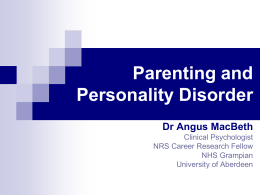 Angus MacBeth - Scottish Personality Disorder Network