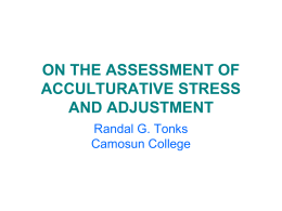 on the assessment of acculturative stress and