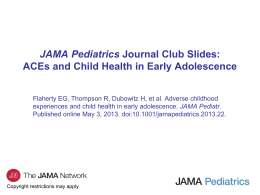 ACEs and Child Health in Early Adolescence