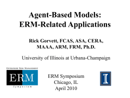 Agent-Based Modeling: Applications to ERM