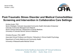 PTSD in Primary Care Settings - Collaborative Family Healthcare