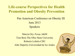 Life-course Perspectives for Health Promotion and Obesity