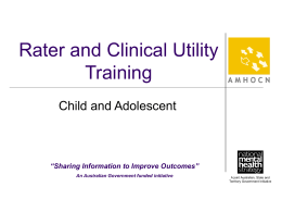 Child and Adolescent Rater and Clinical Utility Training Slides