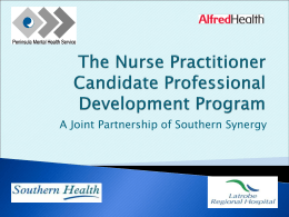 The Nurse Practitioner Candidate Professional Development Program
