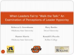 """When Leaders Fail to """"Walk the Talk:"""" An"""