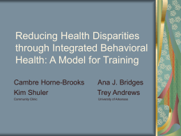 Reducing Health Disparities through Integrated