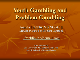 Youth Gambling and Problem Gambling - Home